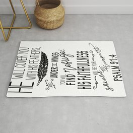 Psalm 91:4 Christian Bible Verse Typography Design Rug