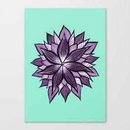 Purple Mandala Like Abstract Flower Canvas Print