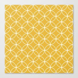 Crossing Circles - Mustard Canvas Print