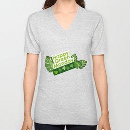 Happy leaves deco - Green Monday Unisex V-Neck