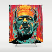 frankenstein Shower Curtains featuring Frankenstein by nicebleed