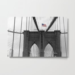 Brooklyn Bridge and American flag Metal Print