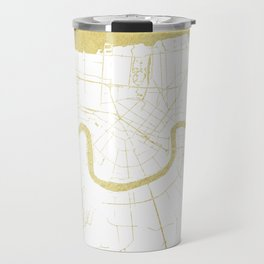 New Orleans White and Gold Map Travel Mug