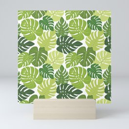 Monstera Leaves Pattern (white background) Mini Art Print