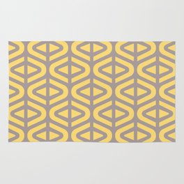 Mid Century Modern Split Triangle Pattern Gray and Yellow 2 Rug