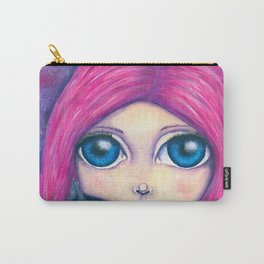 Big eyes girl with pink hair and her cat compangnon Carry-All Pouch