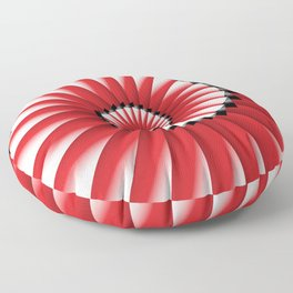 Abstract Spiral Sea Shell - Red, Black and White Floor Pillow