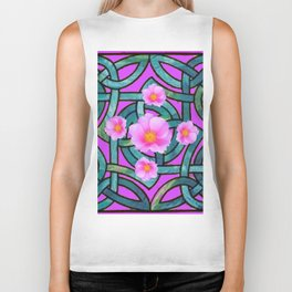 Mystical Wild Pink Celtic Roses Teal Purple Art Biker Tank