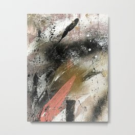 lighning [2]: a colorful abstract piece in black, white, gold, and pink Metal Print