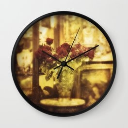 Red roses on the street Wall Clock