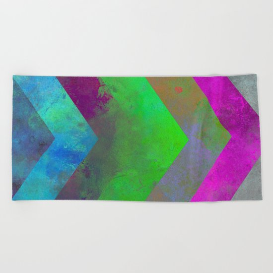 Textured Direction - Abstract, multi coloured, geometric painting Beach Towel