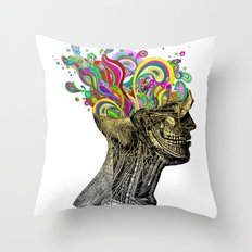 Bright neon pink yellow abstract anatomical skull Throw Pillow