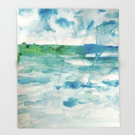 Miami Beach Watercolor #2 Throw Blanket