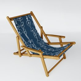 poppy vines on navy Sling Chair