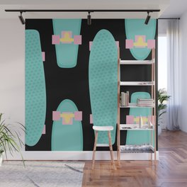 Pastel Skateboards Pattern - Pastel on Black Wall Mural