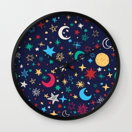 planets stars moon red yellow green navy blue pattern Wall Clock