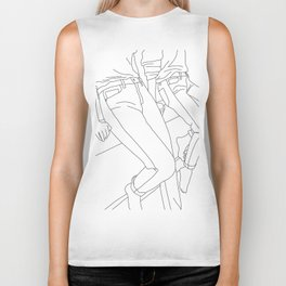 Fashion illustration line drawing - Calan Biker Tank