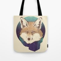 fox Tote Bags featuring Fox by Laura Graves