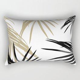 Gold Black Palm Leaves Dream #1 #tropical #decor #art #society6 Rectangular Pillow