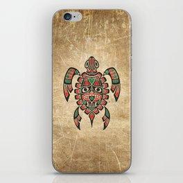 Vintage Red and Green Haida Spirit Sea Turtle iPhone Skin