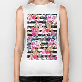 Cute spring floral and stripes watercolor pattern Biker Tank