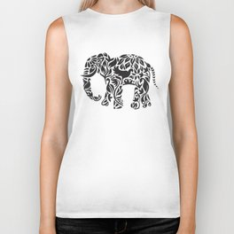 Elephant Flourish in Black Biker Tank