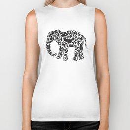 Elephant Flourish in Black Biker Tank