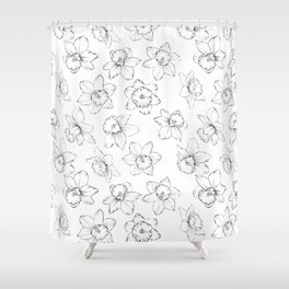 Seamless pattern with flowers narcissus. Shower Curtain