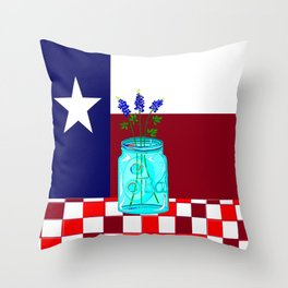 Texas Flag and Blue Bonnets Throw Pillow