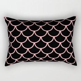 Pink & Black Fish Scales Pattern Rectangular Pillow