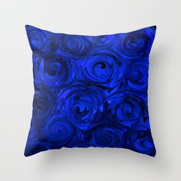 China Blue Rose Abstract Throw Pillow