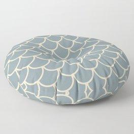 Blue & Light Beige Fish Scales Pattern Floor Pillow