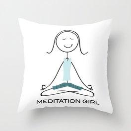Funny Womens Meditation, Mindfulness Gifts, Meditate, Meditation Girl Throw Pillow