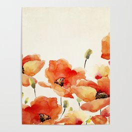Poppy Flower Meadow- Floral Summer lllustration Poster
