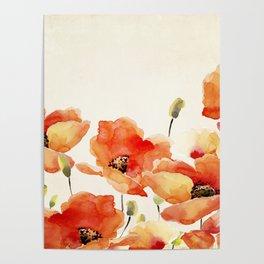 Poppy Flower Meadow- Floral Summer lllustration Poster