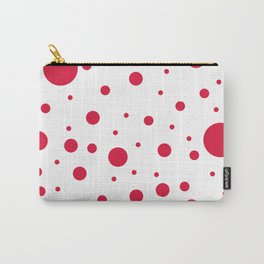 Mixed Polka Dots - Crimson Red on White Carry-All Pouch