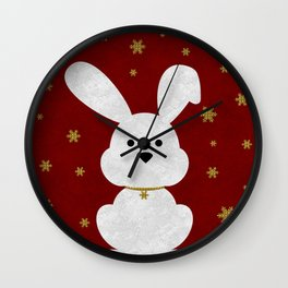 Christmas Bunny Red Marble Wall Clock