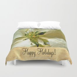 Pale Yellow Poinsettia 1 Happy Holidays S2F1 Duvet Cover