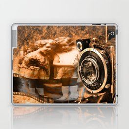 Vintage children photograph collage with vintage camera and film Laptop & iPad Skin