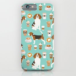 Beagle coffee print cute dog beagles coffees lattes iPhone Case