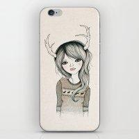 antler iPhone & iPod Skins featuring Antler Girl by Kelli Murray