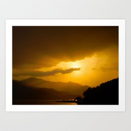 Lake Phewa Sunset, Lakeside, Pokhara, Nepal Art Print