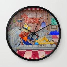Cowdog Saloon Wall Clock
