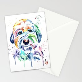 Sheepdog Watercolor Pet Portrait Painting - Gus the Sheepdog Stationery Cards