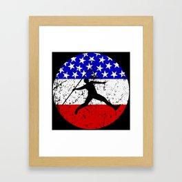 American Flag Javelin Throw Framed Art Print