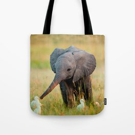 Baby Elephant and Birds Tote Bag
