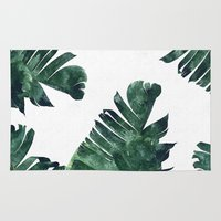 banana leaf Area & Throw Rugs featuring Banana Leaf Watercolor Pattern #society6 by 83 Oranges™