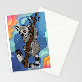 Lemur Neon Colorful Stationery Cards