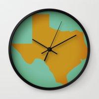 texas Wall Clocks featuring Texas by Studio Samantha