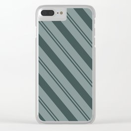 Night Watch PPG1145-7 Thick and Thin Angled Stripes on Scarborough Green PPG1145-5 Clear iPhone Case